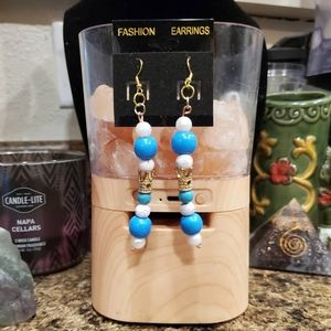 3 for $15  Blue and white crown beaded earrings